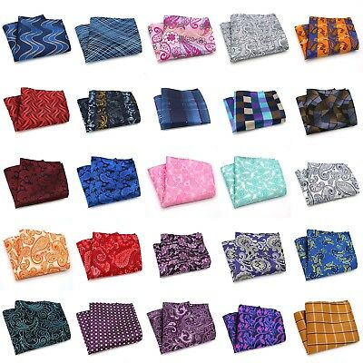 Piasley Floral Men Silk Polyester Pocket Square Hanky Wedding Party Handkerchief