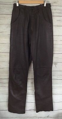 VINTAGE 28 Inch Brown Leather Pants Retro Midi High Waist Size: S