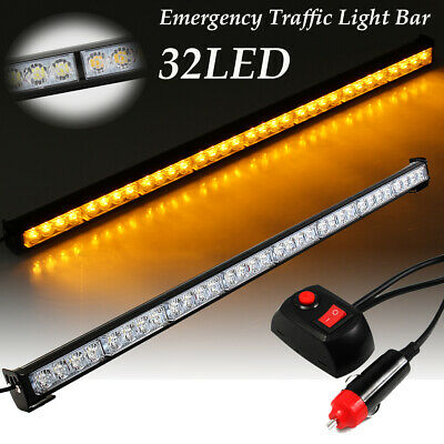 "35.5"" 32 Amber LED Emergency Traffic Advisor Light Bar Flash Strobe Warm Warning"