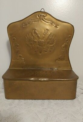 Vintage Antique Brass Hanging Letter Box w/ Lift Up Lid and ~ *Unique Design*