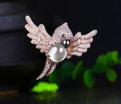 925 Sterling Silver Pink Moon Cabochon White Round Amazing Parrot Brooch Pin New