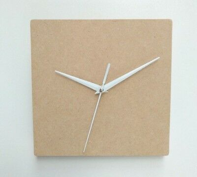 Blank Wooden Square Wall Clock Face without Mechanism, Craft 8mm or 10 mm hole