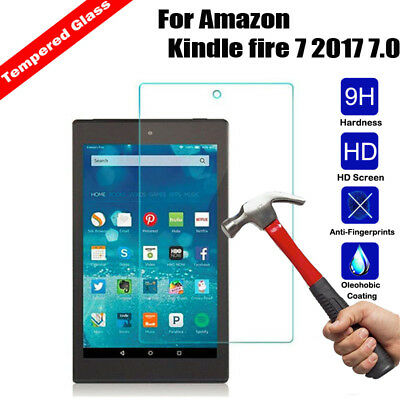 100% Real Curved Tempered Glass Protector For Amazon Kindle fire 7 HD 8/10 2017