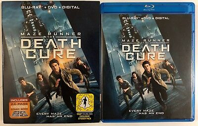 Maze Runner The Death Cure Blu Ray Dvd 2 Disc Set + Slipcover Sleeve Comic Book