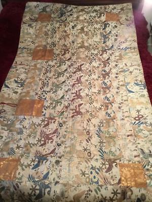 ANTIQUE 19th c EDO PERIOD BROCADE SILK JAPANESE KESA CHINESE EMBROIDERED ROBE