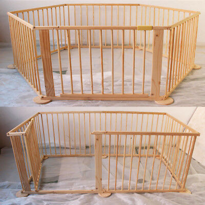 UK Child Baby Children Kid Wooden Playpen Play Pen Room Divider 6 Panels Sided