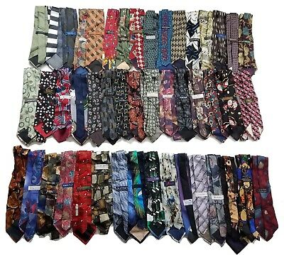 Lot of 47 Mens Vintage Silk Neck Ties Made In Italy, USA Bulk Wholesale