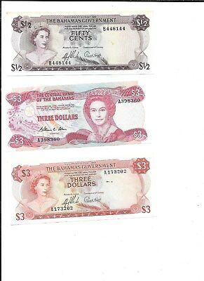 3 diff BAHAMAS FIFTY CENT & 2 THREE DOLLAR BANK NOTE 1 UNCIRCULATED 1974 $3