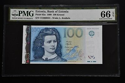 Estonia 1999 pick#82a PMG66 EPQ * Low prefix * 000824