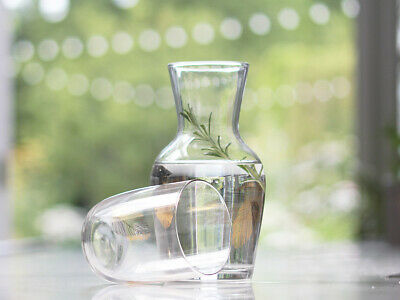 French Chic Vintage Clear Embossed Water Carafe  Glass Summer Gift Wedding