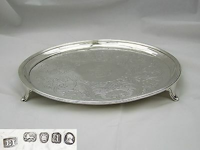 Rare George Iii Hm Sterling Silver 3 Footed Salver 1791
