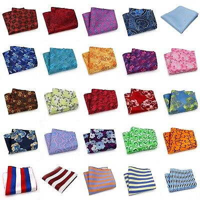 Paisley Floral Men Silk Polyester Pocket Square Hanky Wedding Party Handkerchief