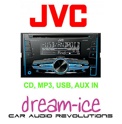 JVC KW-R520 Car Double Din Stereo CD MP3 USB AUX-IN IPod IPhone Android Ready