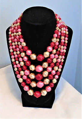 Vintage Five Strand Plastic Pink and White Graduated Bead Necklace Hong Kong