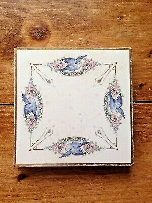 Antique Craven Dunnill & Co Limited Jackfield Tile Trivet Teapot Stand Bluebird