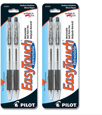 2 Pack -Pilot EasyTouch Retractable Ball Point Pens, Medium Point, Black, 4 Pens
