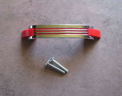 "Vintage 4 1/4"" inch drawer pull Chrome with red lines Amerock – Deco style"