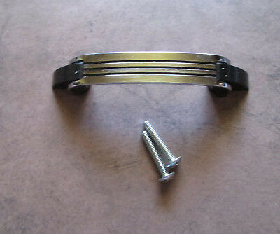 """Vintage 4 1/4"""" inch drawer pull Chrome with black lines Amerock – Deco style"""