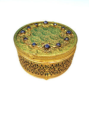 VTG Ormolu Gold Filigree Purple Gemstone Hollywood Regency Jewelry Trinket Box