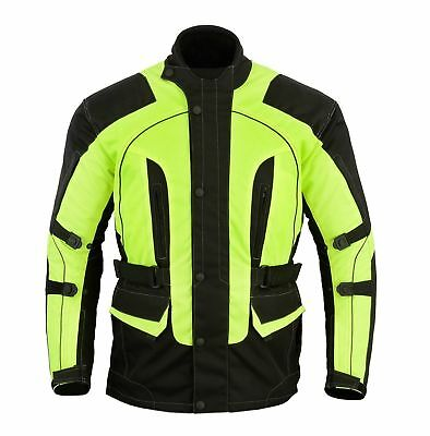 BEST QUALITY Men Textile CE Armour Motorbike Motorcycle Jacket Hi-Vis Reflective