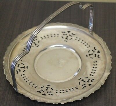Silver Plated Serving tray with Movable Top handle Vintage