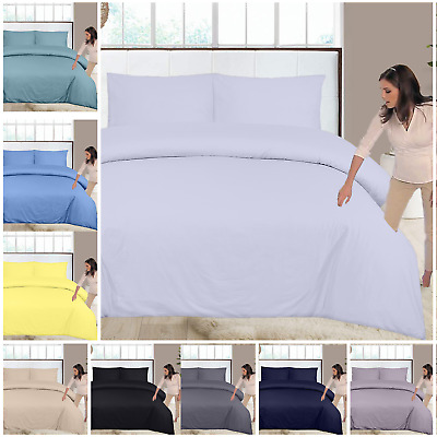 100% Egyptian Cotton 400 Thread Count Duvet Cover Set With Matching Pillow Cases