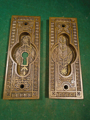LARGE PAIR of CAST BRONZE VICTORIAN POCKET DOOR PLATES - CIRCA 1890 (7636)