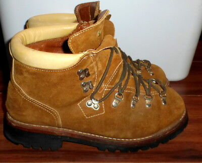 334451ad287 VINTAGE MENS SEARS Suede Hiking Trail Steel Toe Boots W/ Vibram Soles Size  9.5 D