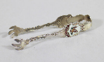 Canadian Sterling Silver Sugar Tongs British Columbia Canada Claw Enamel