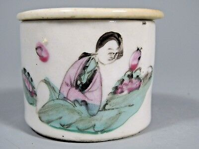 Chinese China Figural Polychrome Enamel Porcelain Lidded Container Qing ca. 1900