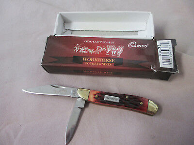 CAMILLUS CAMCO Workhorse 2-Blade Peanut Red Jigged Bone Pocket Knife New