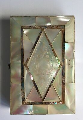 Antique 19th Century Engraved Victorian Mother Of Pearl And Abalone Card Case