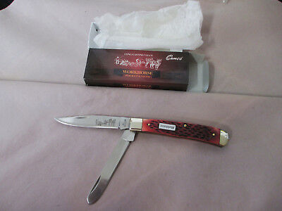 CAMILLUS CAMCO Workhorse 2-Blade Trapper Red Jigged Bone Pocket Knife New
