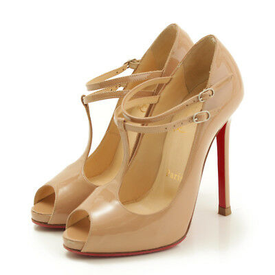 a9d7cd073fc Authentic Christian Louboutin T-Strap Open Toe Pumps Beige Grade Ab Used -At