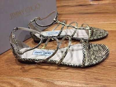1fcc11ce6af8 NEW SnakeSkin JIMMY CHOO Dory Flat Buttercup Caged Sandals Shoes 39 1 2 9.5
