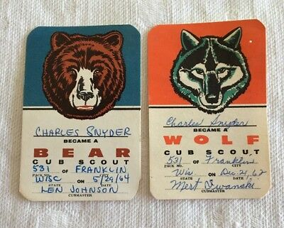 BSA Cub Scout Rank Cards (2) Bear & Wolf Dated 1962 & 1964 Boy Scouts of America