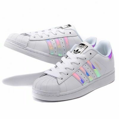new style ee535 038b6 NEW ADIDAS YOUTH Superstar Hologram Shoes [Aq6278] White//White-Hologram