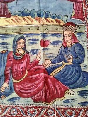 """Antique Tapestry Rug Wall Hanging Fringe Hand Painted King & Queen Heart 29""""x45"""""""
