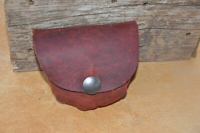 Hand Stitched Small Rust Colored Oil Tanned Leather Belt Pouch