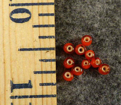 (10) Old Plains Indian Red White Heart Trade Beads French Pre-1800 Small Size