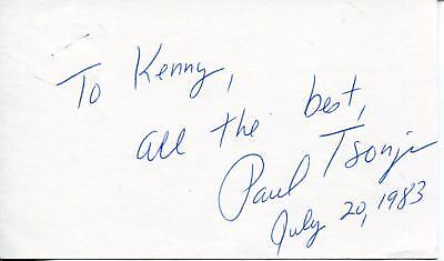 Paul Tsongas Us Democrat Senator From Massachusetts Signed Card Autograph