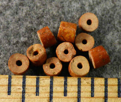(10) Original Chippewa Indian Pipestone Trade Beads Great Color