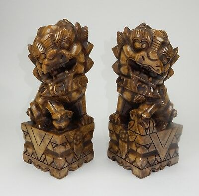 Large pair of Chinese Intricately Carved Jade Hardstone Foo dogs 13.5 inches