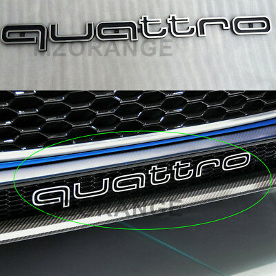 Quattro Emblem RS Style Badge Grill For Audi A1 - A8 Q1-Q7 TT Front Logo Black