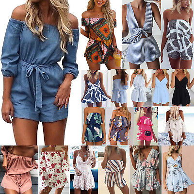Womens Holiday Mini Playsuit Jumpsuit Shorts Rompers Summer Beach Party Clubwear