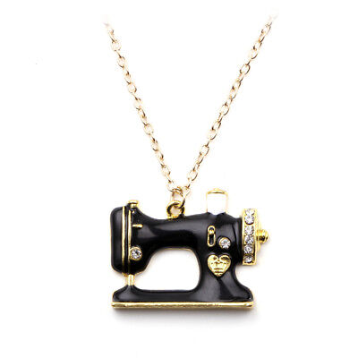 18K Gold Plated Black Enamel & Genuine Austrian Crystal Sewing Machine Necklace