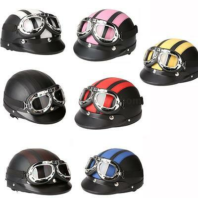 Motorcycle Scooter Helmet Half Open Face 7 Color With Visor UV Goggles Vintage