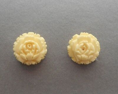 Vintage Carved Celluloid Faux Ivory Flower Rose Earrings Screw Back