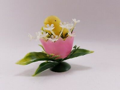 Small Vintage 60s Flocked Easter Chick in Plastic Egg Cup with Flower Decoration