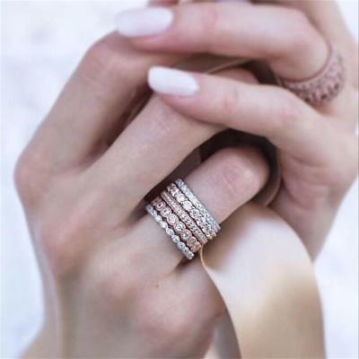 Women 5PCs/Set Sparkly Rose Gold Crystal Rhinestone Stackable Ring Set Jewelry